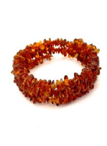 Amber Chips / Beads Triple Strand  Wire Bracelet